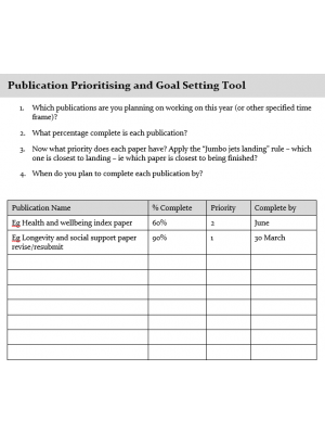 Publication Prioritising and Goal Setting